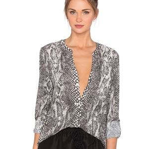 Soft JOIE Anabella D Button Up Snakeskin Blouse